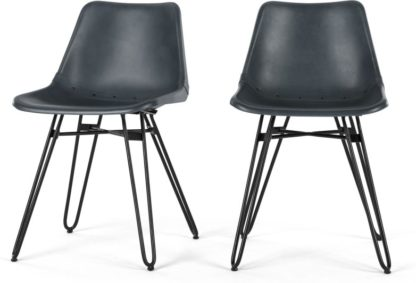 An Image of Set of 2 Kendal Dining Chairs, Grey leather and Black