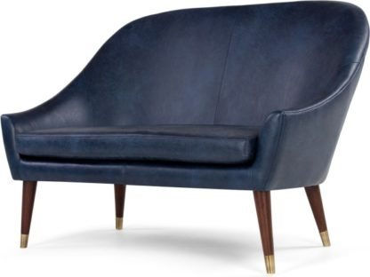 An Image of Seattle 2 Seater Sofa, Oxford Blue Premium Leather
