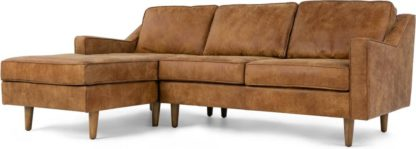 An Image of Dallas Left Hand Facing Chaise End Corner Sofa, Outback Tan Premium Leather