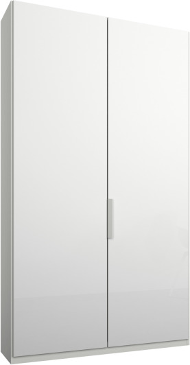 An Image of Caren 2 door 100cm Hinged Wardrobe, White Frame, White Glass Doors, Standard Interior