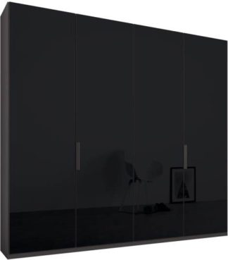 An Image of Caren 4 door 200cm Hinged Wardrobe, Graphite Grey Frame, Basalt Grey Glass Doors, Classic Interior