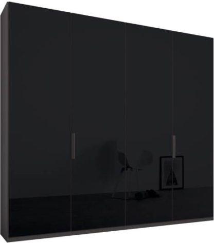 An Image of Caren 4 door 200cm Hinged Wardrobe, Graphite Grey Frame, Basalt Grey Glass Doors, Standard Interior