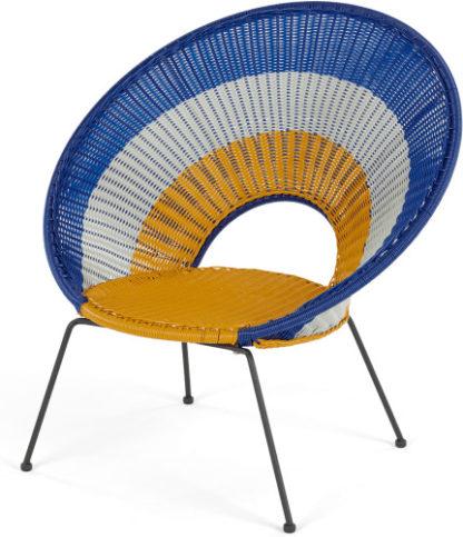 An Image of Yuri Garden Lounge Chair, Multi Woven Yellow and Mustard