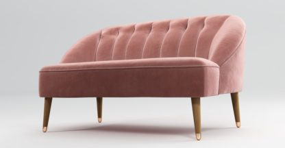 An Image of Custom MADE Margot 2 Seat sofa, Velvet Old Rose, Light Wood Copper Leg