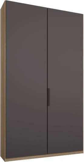An Image of Caren 2 door 100cm Hinged Wardrobe, Oak Frame, Matt Graphite Grey Doors, Premium Interior