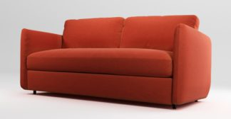 An Image of Custom MADE Fletcher 3 Seater Sofabed with Memory Foam Mattress, Retro Orange