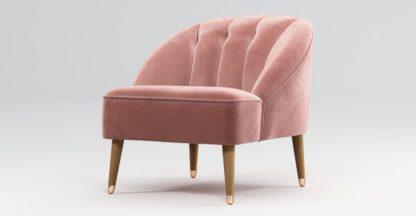 An Image of Custom MADE Margot Armchair, Old Rose Velvet with Light Wood Copper Leg