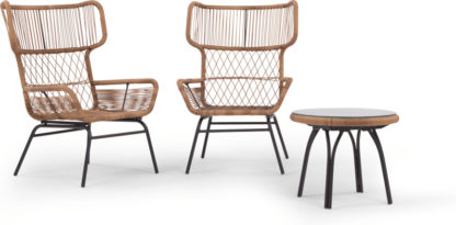 An Image of Lyra Garden Lounge Set, Charcoal Grey