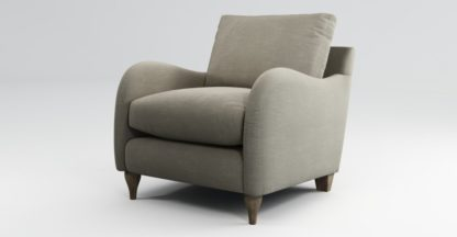 An Image of Custom MADE Sofia Armchair, Athena Putty with Light Wood Leg