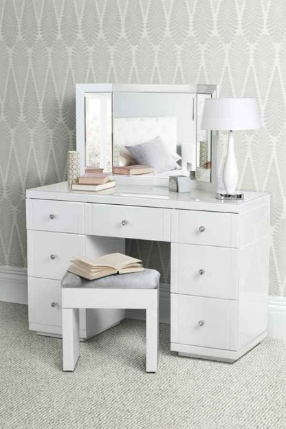 An Image of VALERIA White glass Dressing Table