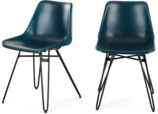 An Image of Set of 2 Kendal Dining Chairs, Teal and Black