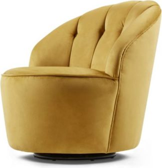 An Image of Margot Swivel Accent Armchair, Antique Gold Velvet