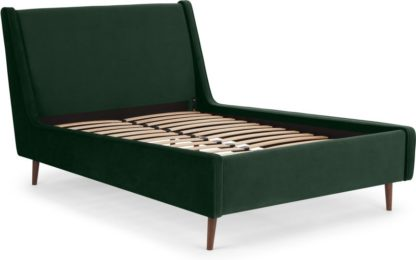 An Image of Higgs King Size Bed, Pine Green Velvet