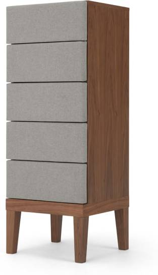 An Image of Lansdowne Upholstered Tall Chest, Walnut and Heron Grey