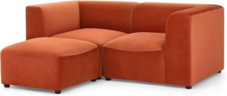 An Image of Juno 2 Seater Sofa with Footstool, Flame Orange Velvet