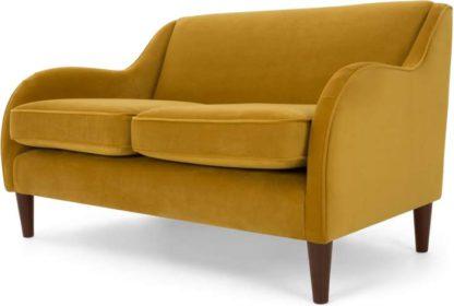 An Image of Helena 2 Seater Sofa, Plush Turmeric Velvet