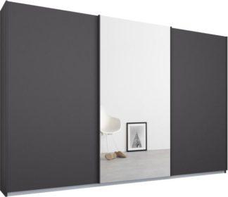 An Image of Malix 3 door 270cm Sliding Wardrobe, Graphite Grey frame,Matt Graphite Grey & Mirror doors , Classic Interior