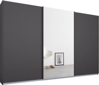 An Image of Malix 3 door 270cm Sliding Wardrobe, Graphite Grey frame,Matt Graphite Grey & Mirror doors , Premium Interior