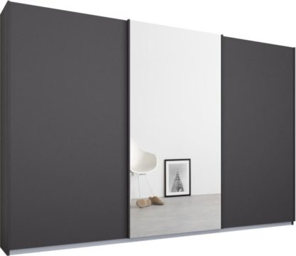 An Image of Malix 3 door 270cm Sliding Wardrobe, Graphite Grey frame,Matt Graphite Grey & Mirror doors, Standard Interior