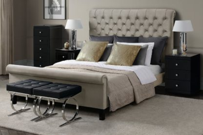 An Image of AMARE Upholstered Bed - Latte