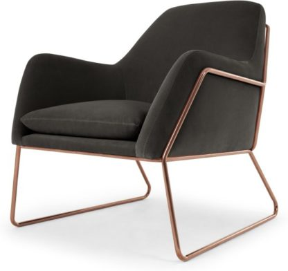 An Image of Frame Accent Armchair, Concrete Cotton Velvet with Copper Frame