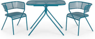 An Image of MADE Essentials Tice Garden Compact Bistro Set, Teal