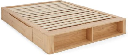 An Image of MADE Essentials Kano Platform King Size Bed with Storage, Pine