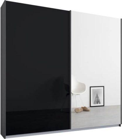 An Image of Malix 2 door 181cm Sliding Wardrobe, Graphite Grey frame,Basalt Grey Glass & Mirror doors, Standard Interior