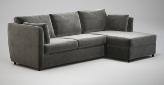 An Image of Custom MADE Milner Right Hand Facing Corner Storage Sofa Bed with Foam Mattress, Steel Grey Velvet