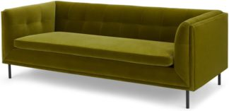 An Image of Farley Large 2 Seater Sofa, Olive Cotton Velvet