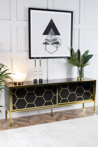 An Image of Alveare Brass and Black Glass Sideboard