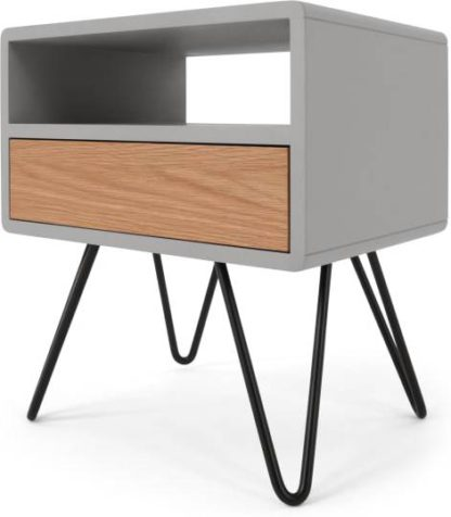 An Image of Ukan Bedside Table, Grey and Oak