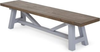 An Image of Iona Large Bench, Solid Pine and Pebble Grey