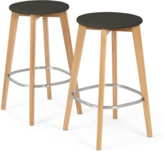 An Image of Set of 2 Fjord Bar Stool, Oak and Grey
