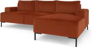 An Image of Frederik 3 Seater Right Hand Facing Compact Corner Chaise End Sofa, Nutmeg Orange Velvet