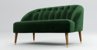 An Image of Custom MADE Margot 2 Seater Sofa, Forrest Green Velvet with Light Wood Brass Leg