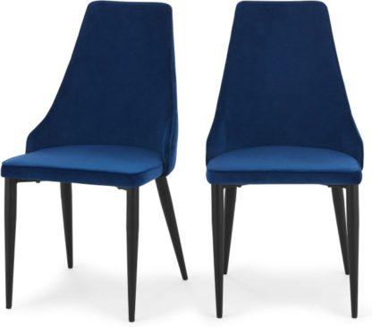 An Image of Set of 2 Julietta Dining Chairs, Electric Blue Velvet