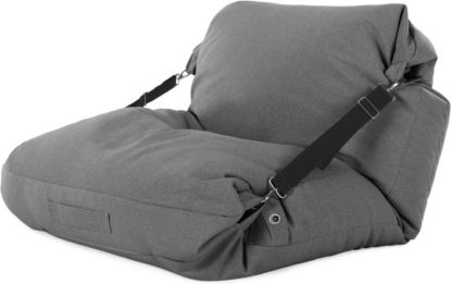 An Image of Tuck Bean Bag Floor Chair, Marl Grey with Contrast Black Strap