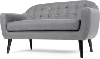 An Image of Ritchie 2 Seater Sofa, Pearl Grey with Rainbow Buttons