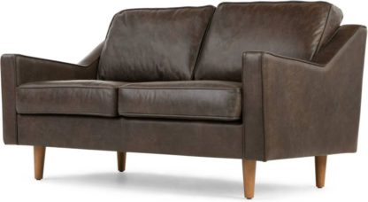 An Image of Dallas 2 Seater Sofa, Oxford Brown Premium Leather