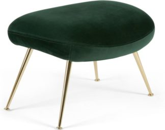 An Image of Moby Footstool, Pine Green Velvet