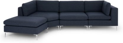 An Image of Monterosso Left Hand Facing Modular Chaise End Sofa, Storm Blue