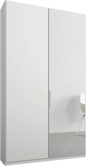An Image of Caren 2 door 100cm Hinged Wardrobe, White Frame, Matt White & Mirror Doors, Premium Interior