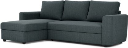 An Image of Aidian Corner Storage Sofa Bed, Night Blue