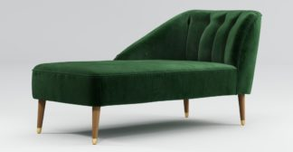 An Image of Custom MADE Margot Left Hand Facing Chaise, Forrest Green Velvet with Light Wood Brass Leg