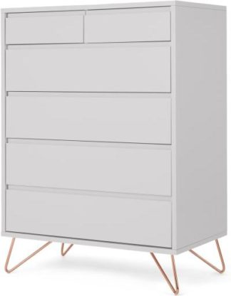An Image of Elona Tall Multi Chest of Drawers, Light Grey & Copper Legs