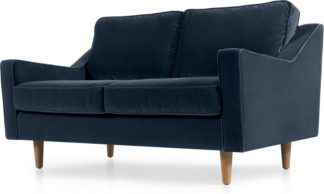 An Image of Dallas 2 Seater Sofa, Navy Cotton Velvet