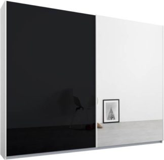 An Image of Malix 2 door 225cm Sliding Wardrobe, White frame,Basalt Grey Glass & Mirror doors , Premium Interior