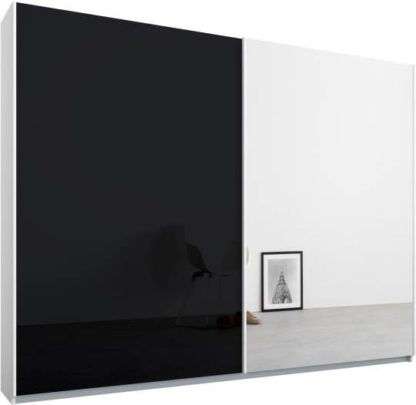 An Image of Malix 2 door 225cm Sliding Wardrobe, White frame,Basalt Grey Glass & Mirror doors, Standard Interior