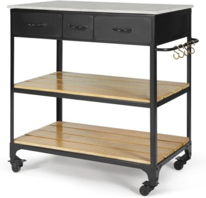 An Image of Darby Butchers Block, Marble and Black Metal